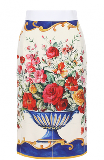 Шелковая юбка-карандаш с ярким принтом Dolce & Gabbana