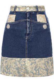 Джинсовая мини-юбка с жаккардовой отделкой Dolce & Gabbana