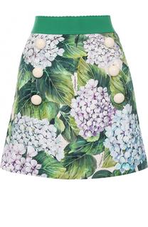 Мини-юбка с цветочным принтом и широким поясом Dolce & Gabbana