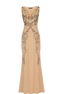 Шелковое платье-макси с вышивкой пайетками Roberto Cavalli