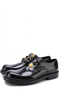 Кожаные дерби San Pietro с декоративными пуговицами Dolce & Gabbana
