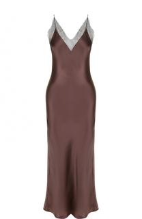 Шелковое платье-комбинация с кружевной отделкой Walk of Shame