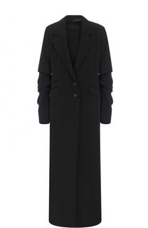 Удлиненное шерстяное пальто с декорированными рукавами Isabel Benenato