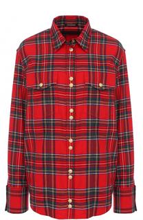 Хлопковая блуза в клетку с накладными карманами Balmain