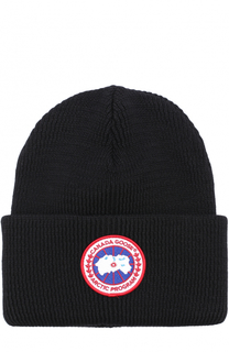 Шерстяная вязаная шапка с логотипом бренда Canada Goose