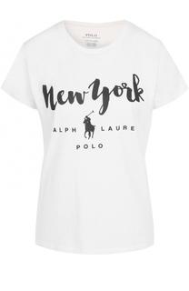 Хлопковая футболка с контрастным принтом Polo Ralph Lauren