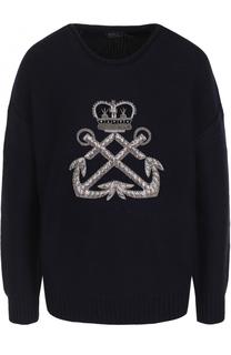 Шерстяной пуловер с контрастной вышивкой Polo Ralph Lauren