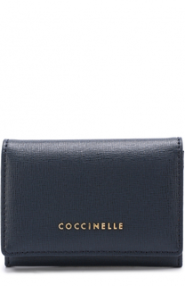 Кожаный кошелек с логотипом бренда Coccinelle