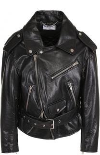 Кожаная куртка свободного кроя с косой молнией Balenciaga