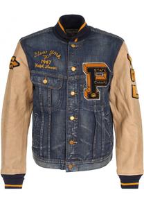 Джинсовая куртка на пуговицах с кожаными рукавами Polo Ralph Lauren