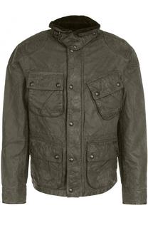 Хлопковая куртка на молнии с эффектом крэш Polo Ralph Lauren