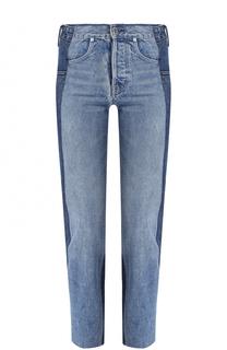 Укороченные джинсы прямого кроя с потертостями Helmut Lang