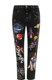 Укороченные джинсы прямого кроя с вышивкой Dolce & Gabbana