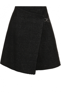 Мини-юбка с запахом из смеси льна и шерсти Maison Margiela