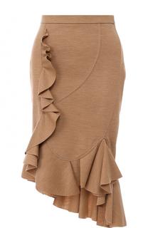 Шерстяная юбка-миди с оборками Givenchy