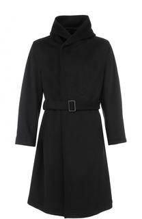 Пальто из смеси шерсти и кашемира с поясом и капюшоном Yohji Yamamoto