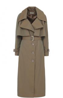 Однобортное пальто с поясом и кейпом Vika Gazinskaya