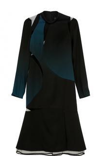 Платье-миди с длинным рукавом и прозрачными вставками Versace