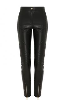 Укороченные кожаные брюки-скинни Versace