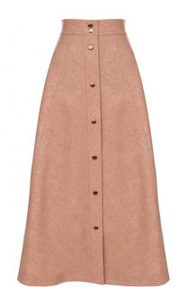 Кожаная юбка-миди с широким поясом Vika Gazinskaya