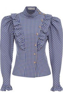 Хлопковая блуза в клетку с рукавом-фонарик Vika Gazinskaya