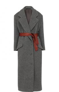 Шерстяное пальто с контрастным кожаным поясом Vika Gazinskaya