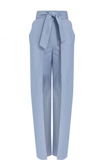 Хлопковые брюки с завышенной талией и поясом Vika Gazinskaya