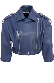 Кожаная куртка с укороченным рукавом и косой молнией Vika Gazinskaya