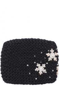 Шерстяная повязка фактурной вязки с отделкой из кристаллов Jennifer Behr