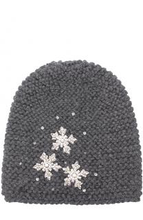 Шерстяная шапка фактурной вязки с отделкой из кристаллов Jennifer Behr