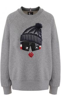Хлопковый пуловер с круглым вырезом и декоративной отделкой Moncler