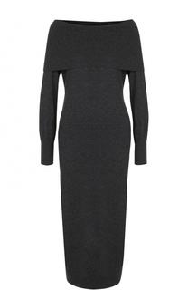 Шерстяное платье-миди с открытыми плечами Theory