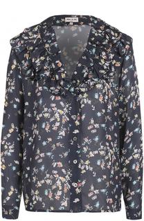 Шелковая блуза с принтом и оборками Paul&Joe Paul&Joe