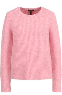 Шерстяной пуловер с круглым вырезом и замшевыми заплатками Rag&Bone Rag&Bone