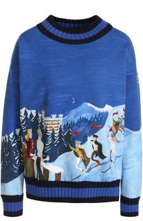 Хлопковый пуловер с круглым вырезом и принтом Moncler