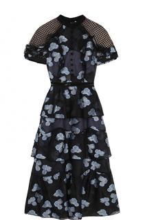 Приталенное платье с цветочным принтом и открытой спиной self-portrait