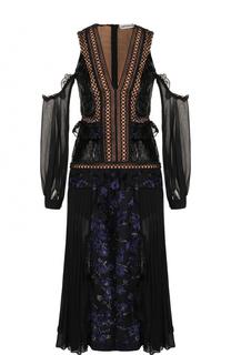 Приталенное платье-миди с открытыми плечами self-portrait