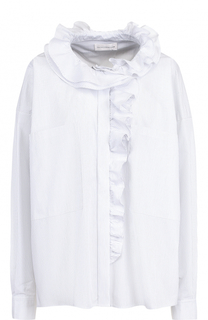 Хлопковая блуза в полоску с оборками Faith Connexion