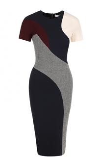 Платье-футляр с коротким рукавом и принтом Victoria Beckham