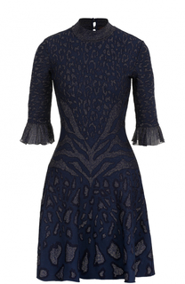 Приталенное мини-платье с воротником-стойкой Roberto Cavalli
