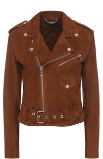 Замшевая куртка с комой молнией и погонами Polo Ralph Lauren