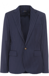 Приталенный шерстяной жакет в полоску Polo Ralph Lauren