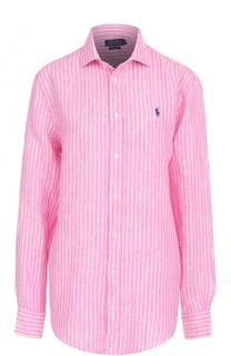 Льняная блуза свободного кроя в полоску Polo Ralph Lauren