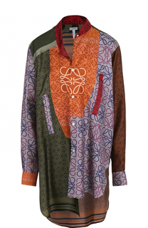 Шелковая блуза свободного кроя с принтом Loewe