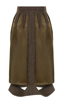Юбка-миди с шерстяной отделкой Maison Margiela
