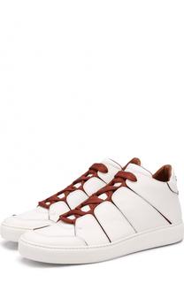 Высокие кожаные кеды на шнуровке Zegna Couture