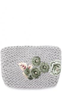 Повязка из смеси шерсти и шелка с цветочной вышивкой Jennifer Behr