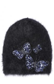 Шерстяная шапка с отделкой из пайеток и бисера Jennifer Behr