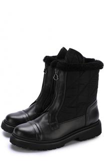 Кожаные утепленные ботинки с текстильной отделкой Moncler