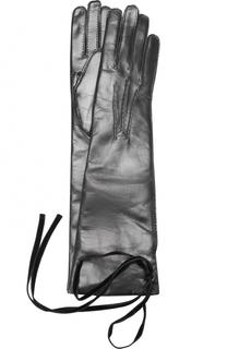 Кожаные перчатки с бархатными завязками Ann Demeulemeester